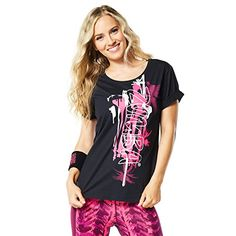 Zumba Womens Da Zumba Funk Long Tee Back to black Large *** Click image for more details.