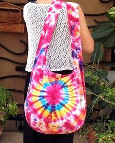 Handmade Tie Dye bag Cotton Bag Hippie bag Hobo bag by veradashop, $9.98