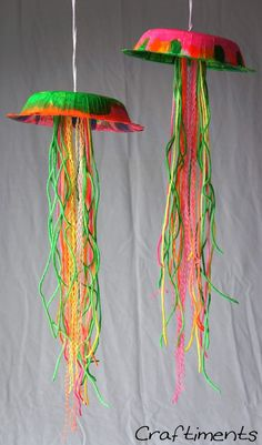 yarn crafts, I'm sure the kids would love this educational activity because they can learn about different kids of jellyfish! We can even watch a video a out them while we are making them!