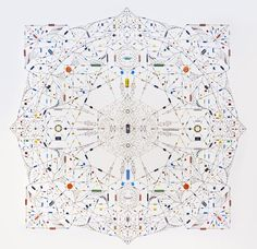 """Technological mandala 30"" by Leonard Ulian. Electronic components, copper wire, paper, 122 cm x 122 cm, 2013."