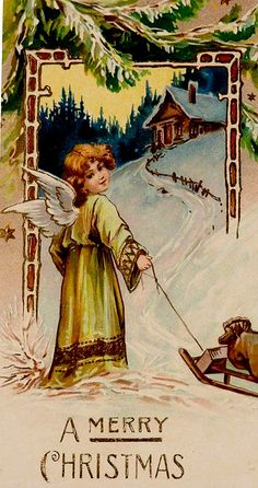 A Merry Christmas Christmas Postcards, Vintage Christmas Cards, Christmas Greetings, Vintage Cards, Vintage Postcards, Christmas Angels, Christmas And New Year, Christmas Holidays, Merry Christmas