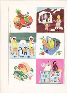 Vintage Frozen Food illustration page by Alice and Martin Provensen via Etsy.