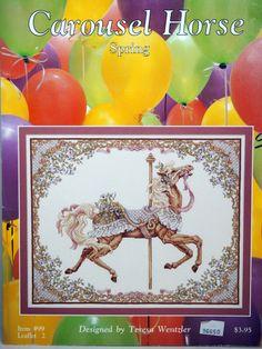 Teresa Wentzler Spring Carousel Horse Vintage Cross Stitch by NeedANeedle, $5.75