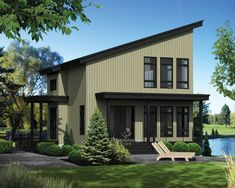 New house plans modern mountain spaces ideas Duplex House Plans, New House Plans, Modern House Plans, Small House Plans, Small Contemporary House Plans, Contemporary Style, Shed Roof, House Roof, Plan Chalet