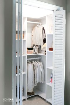 DIY Custom Closet Shelving (for deep closets) is part of Deep Closet Organization - Learn how to build a stunning custom closet system that doesn't waste any space! These free build plans are perfect for deep closets that are not walk in Small Closet Design, Small Closet Space, Bedroom Closet Design, Small Closets, Closet Designs, Closet Ideas For Small Spaces Bedroom, Small Walk In Wardrobe, Tiny Closet, Build In Closet