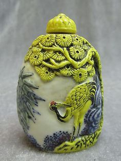 Chinese Porcelain Carved Person & Horse & Crane Pattern Snuff Bottle