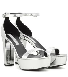 Stella McCartney - Faux leather platform sandals - Stella McCartney's silver platform sandals will add an instant dose of iconic glamour to evening looks. The platform style creates a long-legged look, and we love the mirror-like faux-leather finish. seen @ www.mytheresa.com...