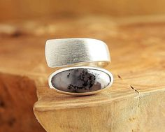 Dendritic agate ring in brushed sterling silver Wide gemstone ring Dendritic…