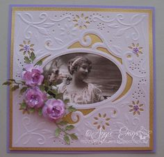 Card made by using Die'sire create-a-card die. The flowers are my Gardenia Roses made by using the small Gardenia Strip by Cheery Lynn.