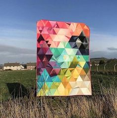 Loving Anne's version of and my quilt pattern 'Tessellation' in Ombre fabric by - so pretty! Bright Quilts, Colorful Quilts, Triangle Quilt Pattern, Triangle Quilts, Triangles, Ombre Fabric, Geometric Quilt, Rainbow Quilt, Summer Quilts