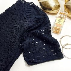 """Navy Lace Top Details: • Size M • Bust: 18.75"""" across when laid flat • Length: 22.25"""" • Fabric content: 69% nylon, 17% polyester, 14% cotton • NWT   11271506 Ann Taylor Tops Blouses"""