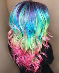 Rainbow hair  Beauty: Fantasy Unicorn Purple Violet Red Cherry Pink yellow Bright Hair Colour Color Coloured Colored Fire Style curls haircut lilac lavender short long mermaid blue green teal orange hippy boho ombré woman lady pretty selfie style fade makeup grey white silver trend trending multi confetti   Pulp Riot