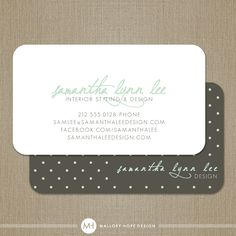 Polka Dots Personalized Modern Calling Card / Mommy Card / Business Card - Set of 100. $48.00, via Etsy.