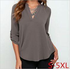 2016 mujeres del otoño del v-cuello blusas sueltas femenina camisas tallas grandes mujer blusas blusa de la gasa moda ropa mujer