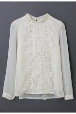 Floral Lace Panel Beige Chiffon Shirt - Retro, Indie and Unique Fashion