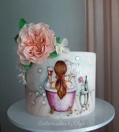 Cake for her by Couture cakes by Olga Fondant Flower Cake, Fondant Cakes, Cupcake Cakes, Cupcakes, Fondant Bow, Fondant Tutorial, Fondant Figures, Beautiful Birthday Cakes, Beautiful Cakes