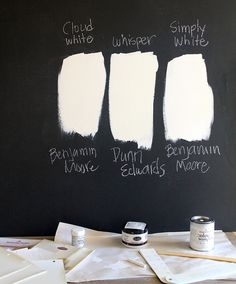 My favorite white paint is Benjamin Moore Cloud White. Or if you are out west, Dunn Edwards Whisper White. It's not too white or too creamy. It's a true white, but still warm without any yellow. I repaint the fireplace about once a year to freshen it Brick Paint Colors, White Paint Colors, Interior Paint Colors, Paint Colors For Home, Interior Plants, Interior Walls, Interior Design, Neutral Colors, Painted Stone Fireplace