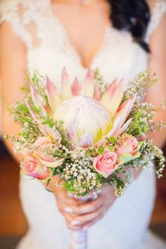King protea wedding bouquet