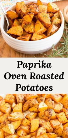 Paprika oven roasted potatoes are a super easy meal prep recipe that reheats really well in the oven, microwave, or toaster oven. You only need three ingredients: potatoes, paprika, and oil. #recipes