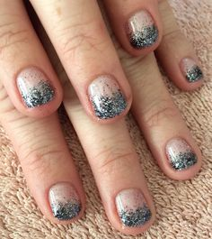 Nails by Mindy Liberty, MO 816-914-8987  Shellac grapefruit sparkle with CND accent glitter (additives)