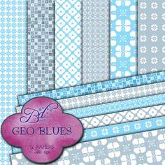 Geo Blues  Digital Scrapbook Papers by BroorianDesigns on Etsy, $1.99