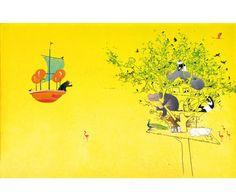 Poster de boomhut, geel