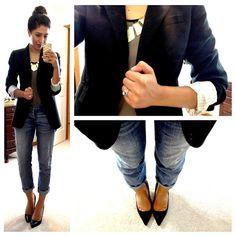 Boyfriend jeans, grey tee, blazer, gold statement necklace, black pumps