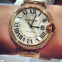 Ballon Bleu de Cartier Watch with mid sized diamond bezel and 18k rose gold