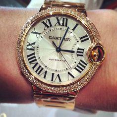 Ballon Bleu de Cartier Watch with mid sized diamond bezel and 18k rose gold