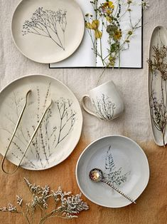 Another Bloomingville beauty. These gorgeous natural coloured mugs are handcrafted and have a delightfully embossed with fine flowers where the hue Ceramic Plates, Decorative Plates, Dyi, Rustic Ceramics, Natural Kitchen, Décor Boho, Nordic Design, Serving Plates, Scandinavian Interior