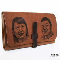self potrait drawing on genuine leather wallet handcrafted, hotpen Made in Bandung Indonesia whatsapp +6281322365446