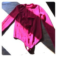 RED WOLFORD SHIRT This is an amazing color red. Can dress up or casual . Made by WOLFORD . So you know it's quality !! Wolford Tops Tees - Long Sleeve