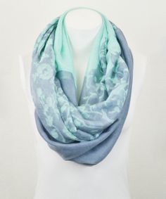 Mint & Blue Floral Infinity Scarf