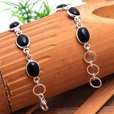 We silver jewelry world have largest collection of pure sterling silver Jewelry. we are sterling silver jewelry manufacturer and exporter from Jaipur Rajasthan. Gemstone Bracelets, Link Bracelets, Handmade Bracelets, Handmade Jewelry, Green Onyx, Black Onyx, Mothers Day Special, Jewelry Design, Designer Jewelry