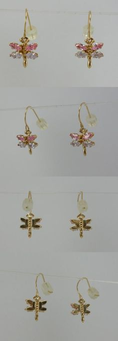 Other Fine Earrings 10984: 14K Yellow Gold Ladies Girl Dangle Drop Earring Pink Cubic Zirconia Cz Dragonfly -> BUY IT NOW ONLY: $44.99 on eBay!