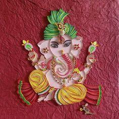 Quilled Ganesha, Quilled Ganpati, Ganpati Bappa Morya Ganesha Painting, Ganesha Art, Lord Ganesha, Baby Ganesha, Jai Ganesh, Shree Ganesh, Lord Krishna, Quilling Images, Paper Quilling Designs