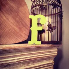 Hand-painted Wooden Letter F   Wall Letters  by LoveLettersMe