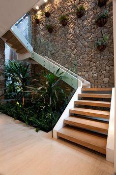 25 perfect indoor garden design ideas for fresh house 8 Office Plants, Garden Office, House Stairs, Basement Stairs, Wood Stairs, Glass Stairs, Garden Stairs, Stone Stairs, Brick Garden