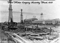Ford Motor Company Long Beach Assembly Plant, Assembly Building, 700 Henry Ford Avenue in Long Beach, Source: Woodhaven Historic Art Long Beach California, California History, Vintage California, Southern California, Bixby Knolls, Star Fort, Signal Hill, San Luis Obispo County, Family Genealogy