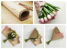 Bouquets of flowers in kraft paper