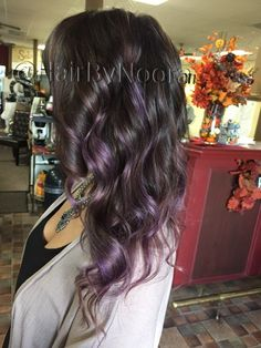 Lilac balayage lavender purple hair ombré haircut waves style