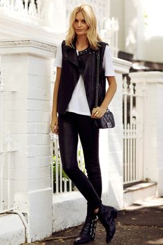 leather vest and trousers with simple tee