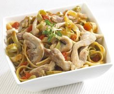 Chicken Stir Fry with Noodles Recipe    Serves 4    Ingredients:  10 oz. Medium Egg Noodles, uncooked  1 tablespoon vegetable oil  1 lb. boneless, skinless chicken breasts, cut into strips   2 peeled carrots thinly sliced  1 bunch of chopped scallions  1/2 red bell pepper, thinly sliced  1/4 cup soy sauce  1 cup chopped celery  1 small can sliced water chestnuts  1/2 teaspoon garlic powder  1/2 teaspoon white pepper  1 teaspoon dried cilantro