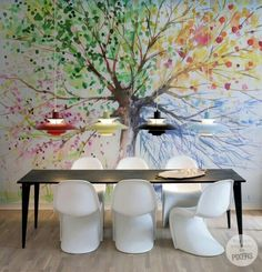 Wall Mural The Four Seasons - inspiration wall mural, interiors gallery Inspiration Wand, Tree Wall Murals, Four Seasons, Diy Painting, Wall Design, Design Design, Room Decor, Contemporary, Money