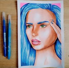 Techique : brush pen by: Lictoria Brush Pen, Blue Hair, Girl Hairstyles, Princess Zelda, Photo And Video, Drawings, Fictional Characters, Instagram, Art