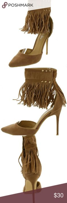 AUPE FRINGE ANKLE CUFF POINTED HEEL studded fringed ankle strap with velcro closurePointed toe, single sole and stiletto heel? Shoes Heels