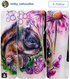 Watercolor squirrel tattoo