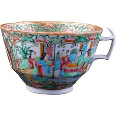Chinese export rose medallion large porcelain tea cup 19th century