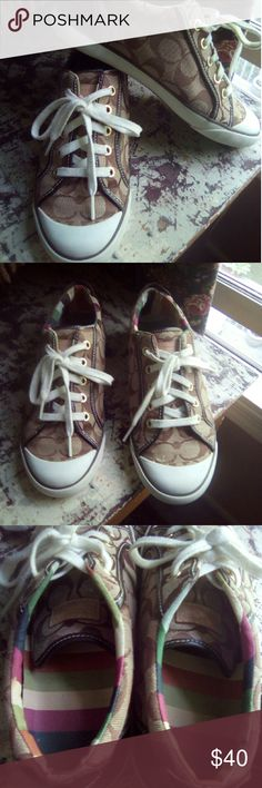 Coach Barrett Sneaker Shoes Nice shoes, used in good condition. Brown signature C's. Size 8m Coach Shoes Sneakers