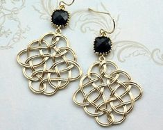 Jet Black Gold Filigree Feather Chandelier Earring, Black Gold Chandelier Dangle Earrings. Black Wedding. Bridesmaids Gift, Black and Gold